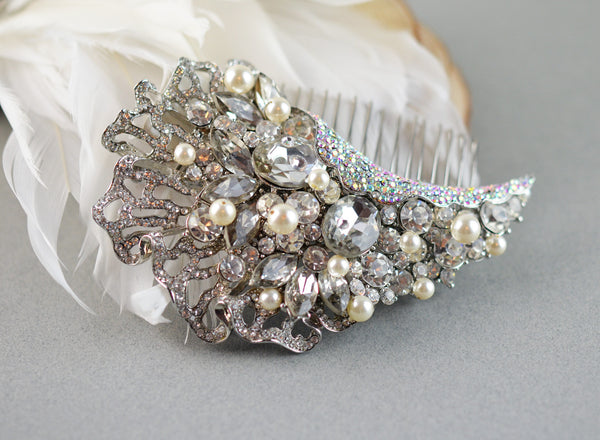 Swarovski Rhinestones Bridal Comb with Pearls