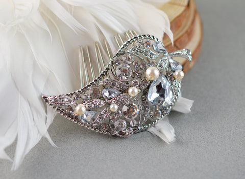 Leaf Bridal Comb with Pearls