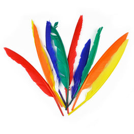 10pcs Duck Quill Feathers - Mix Colors (7 inches)