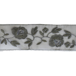 "2.75"" Flower Embroidered Organza Trim - Grey"