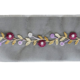 "2.5"" Flower Vine Embroidered Organza Trim"