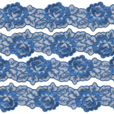 "2"" Floral Lace Trim - Blue"