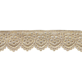 "1.5"" Daisy Embroidered Metallic Scallop Lace Trim - Gold"
