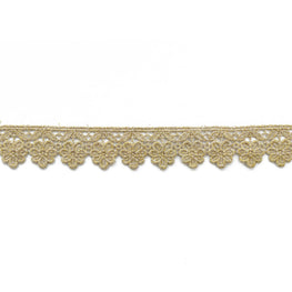 "1.5"" Floral  Embroidered Metallic Scallop Lace Trim - Gold"