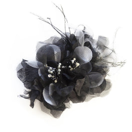 Millinery Flower - Organza Double Artificial Flower - Rhinestones, Glittery Stamen, Ostrich Feathers - Black