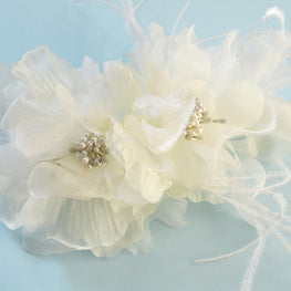 Millinery Flower - Organza Double Artificial Flower - Rhinestones, Glittery Stamen, Ostrich Feathers - Ivory