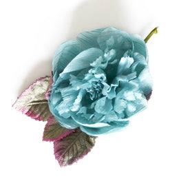 Millinery Flower - Vintage French Peony Artificial Flower - Blue (1pc)