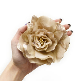 Millinery Flower - Artificial Silk Velvet & Satin Large Rose - Grey (1pc)