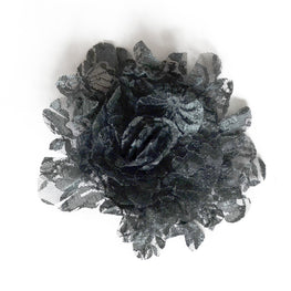 Millinery Flower - Lace Shabby Chic Rose - Dark Moss Green (1pc)