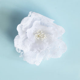 Millinery Flower - Lace Shabby Chic Rose - White (1pc)
