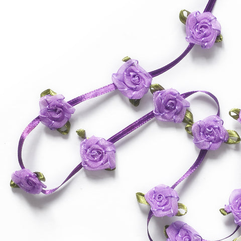 Floral Trim - Organza Roses Ribbonwork - Purple - 1""