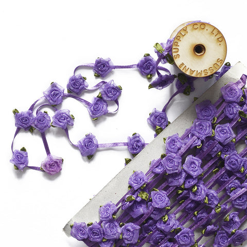 Floral Trim - Organza Roses Ribbonwork - Medium Purple - 1""