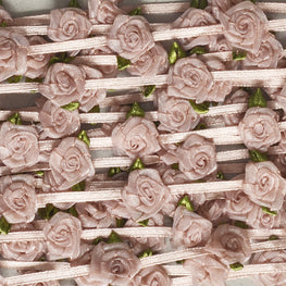Floral Trim - Organza Roses Ribbonwork - Dusty Pink - 1""