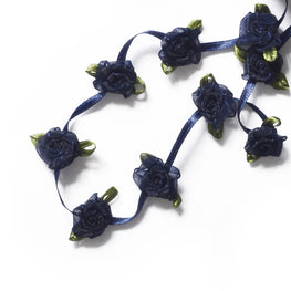 Floral Trim - Organza Roses Ribbonwork - Navy Blue - 1""