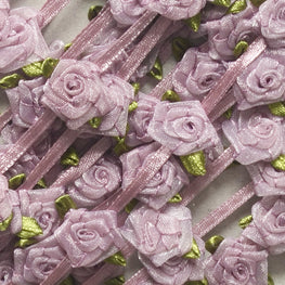 Floral Trim - Organza Roses Ribbonwork - Antique Rose - 1""