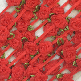 Floral Trim - Organza Roses Ribbonwork - Red - 1""