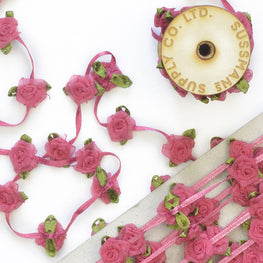 Floral Trim - Organza Roses Ribbonwork - Hot Pink - 1""
