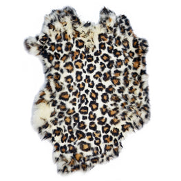 European Domestic Rabbit Fur Hide in Leopard Pattern - Single Pelt