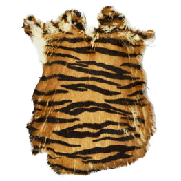 European Domestic Rabbit Fur Hide in Tiger Pattern - Single Pelt
