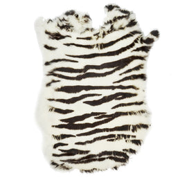 European Domestic Rabbit Fur Hide in Zebra Pattern - Single Pelt