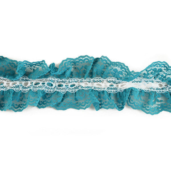 "2.4"" Ruffle Lace Trim in Green/Ivory"