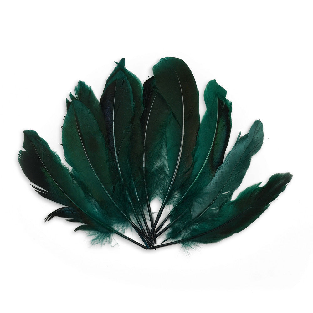 10pcs Mallard Duck Wing Feathers - Emerald (3-5 inches)