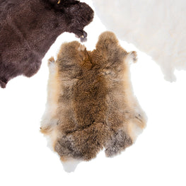 Rabbit Furs in Natural Colors - Single Hide (11x15 inches) (Economical Grade)