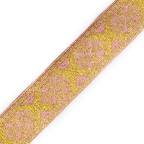Jacquard Ribbon - Metallic Trim - Pink & Gold - 1.8""