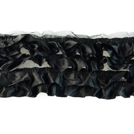 "6"" Satin Ruffle Trim in Black (6 rows)"