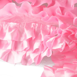 "6"" Satin Ruffle Trim in Pink (6 rows)"