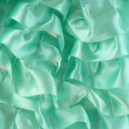 "6"" Satin Ruffle Trim in Turquoise (6 rows)"