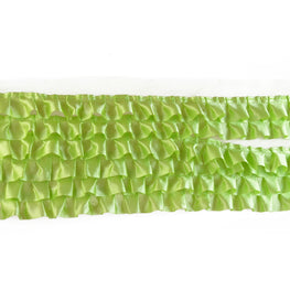 "6"" Satin Ruffle Trim in Lime Green (6 rows)"