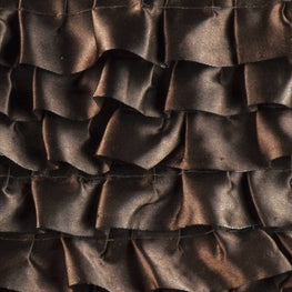 "6"" Satin Ruffle Trim in Brown (6 rows)"