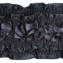 "2.5"" Satin Sheen Ruffle Trim in Black"