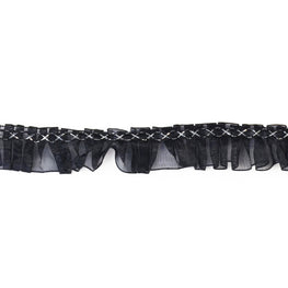 "1"" Ruffle Lace Trim in Black with Silver Details"