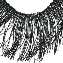 "4"" Hologram Sequins Fringe - Black"