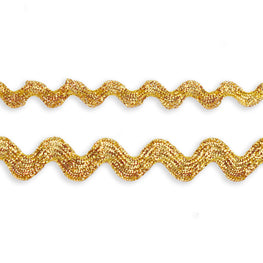 "0.25"" or 0.5"" Metallic Silver Ric Rac Trim - Gold"