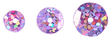 700pcs Metallic Hologram Faceted Sequins with Hole - Lilac (6mm, 8mm, 10mm (120-08)