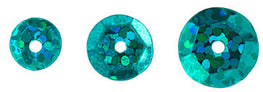 700pcs Metallic Hologram Faceted Sequins with Hole - Teal (6mm, 8mm, 10mm (120-17)