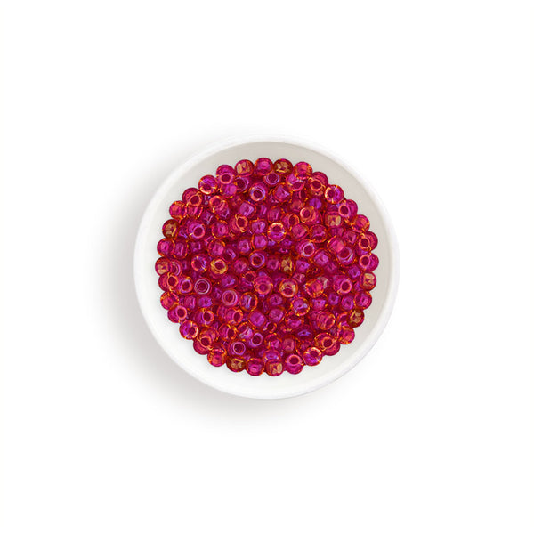 20g Miyuki® Japanese Round Rocailles Glass Seed Beads - Light Cranberry AB Lined Dyed - 11/0 (#0363)