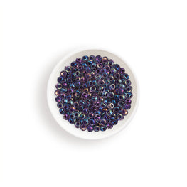 20g Miyuki® Japanese Round Rocailles Glass Seed Beads - Amethyst Lined Crystal AB - 6/0, 11/0 (#0274)