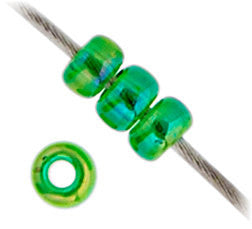 20g Miyuki® Japanese Round Rocailles Glass Seed Beads - Green Transparent AB - 11/0 (#0179)