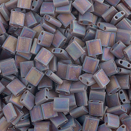 10g Miyuki Tila Beads Square Twin Hole - Chocolate Brown Transparent AB Matte (5x5x1.9mm) (TL135FR)