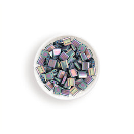 10g Miyuki Tila Beads Square Twin Hole - Light Purple Opaque AB (5x5x1.9mm) (TL1898)