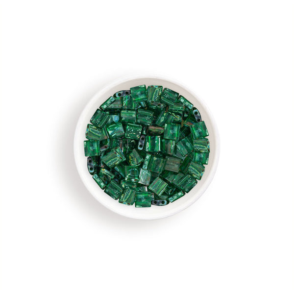 10g Miyuki Tila Beads Square Twin Hole - Green with Turquoise Picasso Transparent (5x5x1.9mm) (TL4507)
