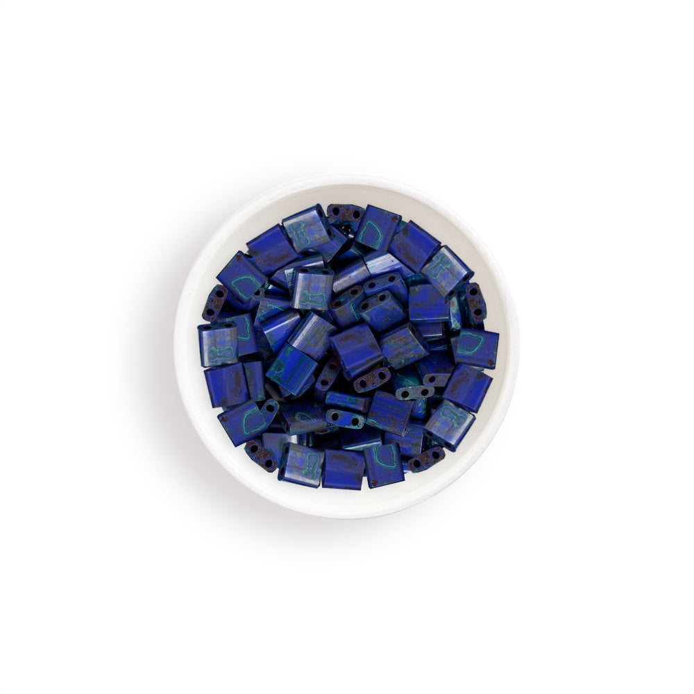 10g Miyuki Tila Beads Square Twin Hole - Royal Blue with Turquoise Picasso Opaque (5x5x1.9mm) (TL4518)