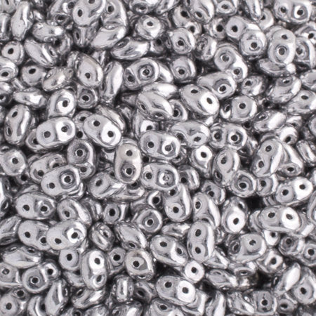 20g Czech SuperDuo Seed Beads - Silver (5x2.5mm) (SD104)