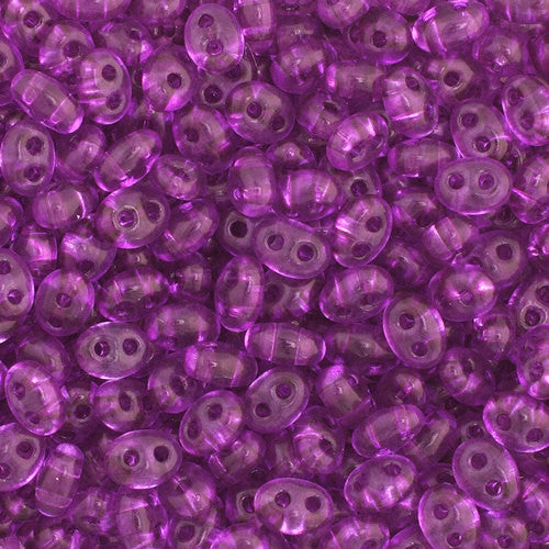 30g Preciosa Twin Czech Two-Hole Seed Beads - Transparent Amethyst Dyed (5x2.5mm) (CT2011)