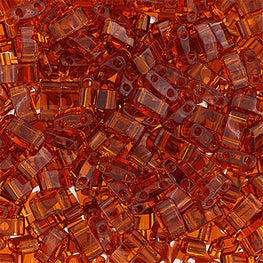 10g Miyuki Half Tila Beads Rectangle Two Hole - Dark Amber Transparent (5x2.3x1.9mm) (HTL0134)