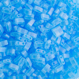 10g Miyuki Half Tila Beads Rectangle Two Hole - Aquamarine Transparent AB Matte (5x2.3x1.9mm) (HTL0148FR)